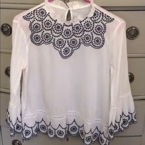 Gap Embroidered White Blouse